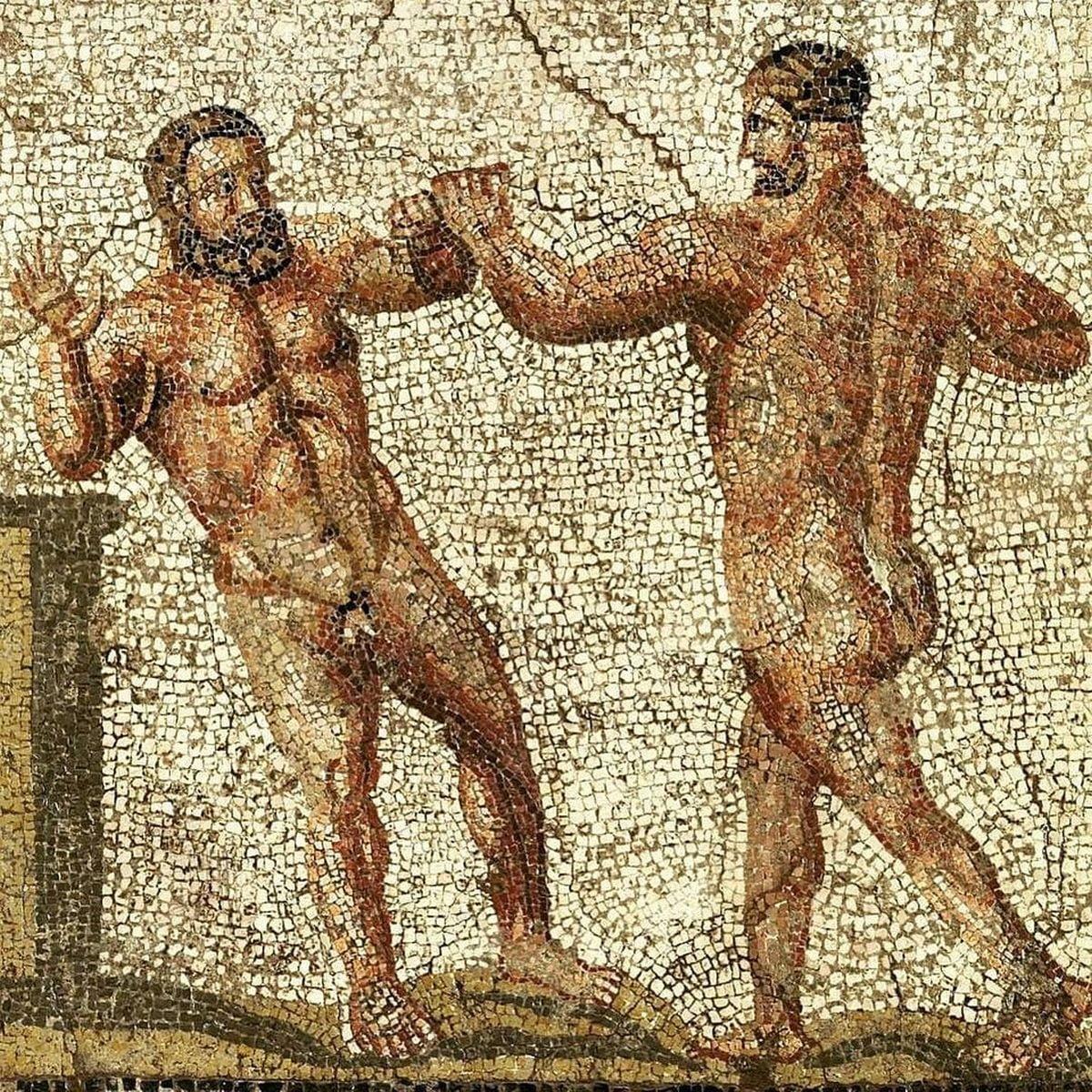 Rzymska mozaika ze sportowcami. Datowane na I n.e.