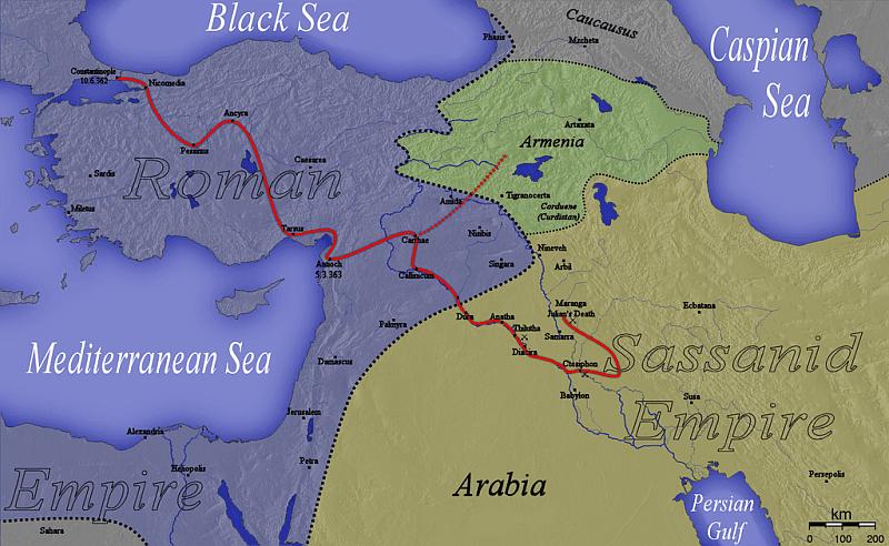 Mapa ukazująca ruchy wojsk Juliana