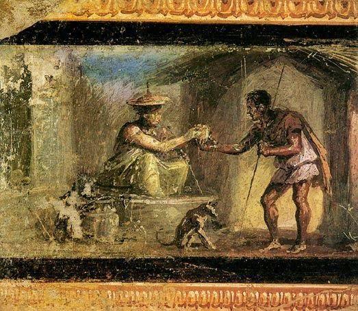 Fresk rzymski ukazujący sprzedawczynię wody i podróżnika. Istnieją także podejrzenia, że kobieta sprzedaje napój miłosny. Pompeje.