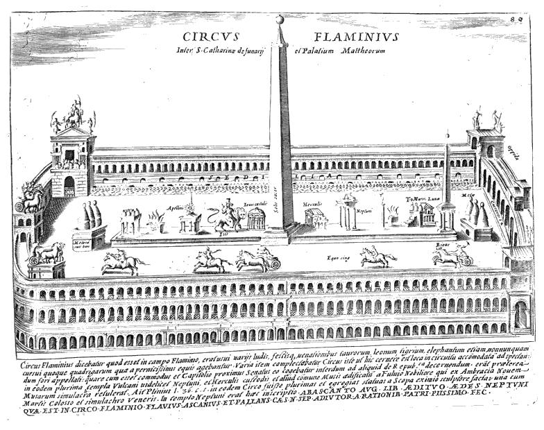 Próba rekonstrukcji Cyrku Flaminiusza autorstwa Giacomo Lauro z 1641r