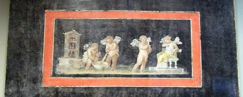 Fragment rzymskiego malarstwa ściennego z Psyche i amorkami tworzącymi perfumy (być może, jest to napój miłosny)