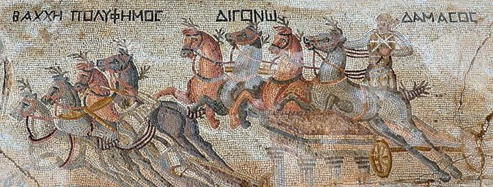 A mosaic showing a chariot race. Discovered in Cyprus
