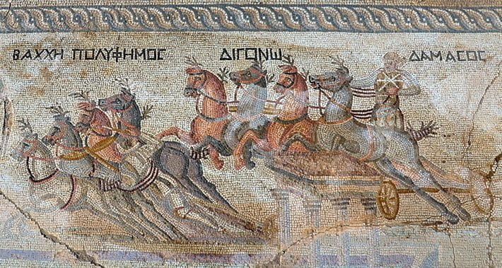 Mosaic showing the chariot race. Discovered in Cyprus