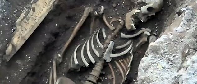Three Roman skeletons were discovered during the construction of the  metro