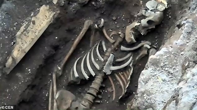 Three Roman skeletons were discovered during subway construction