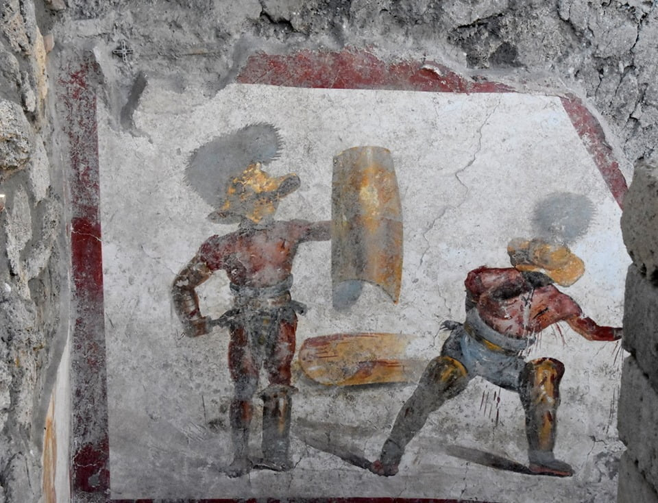 Fresco discovered in Pompeii showing gladiator fight