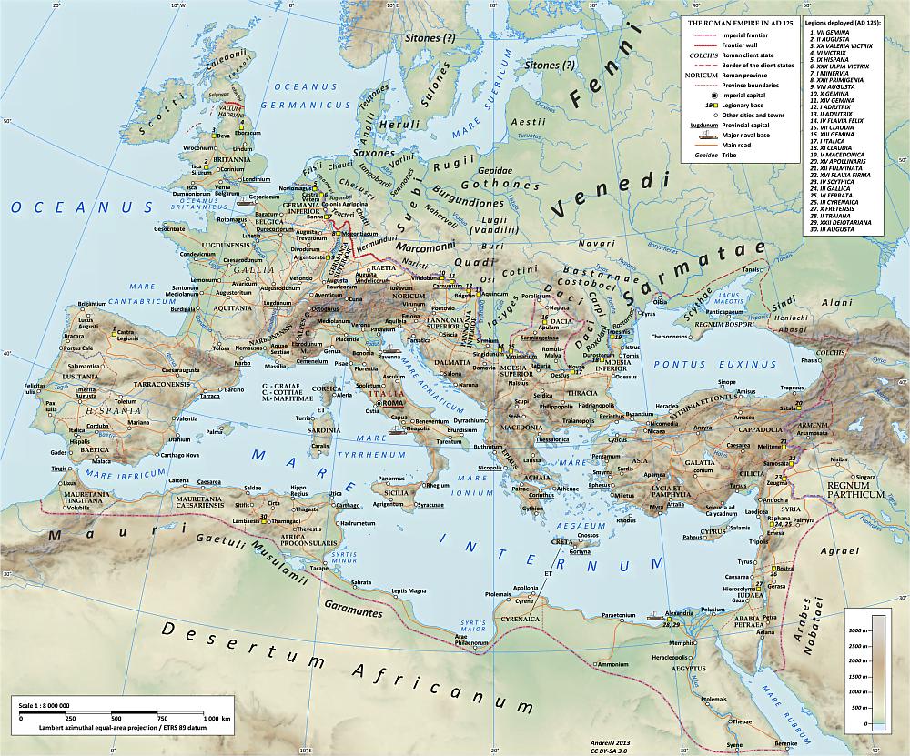 Obszar Cesarstwa Rzymskiego w 125 r. n.e., czyli w przededniu wojen markomańskich