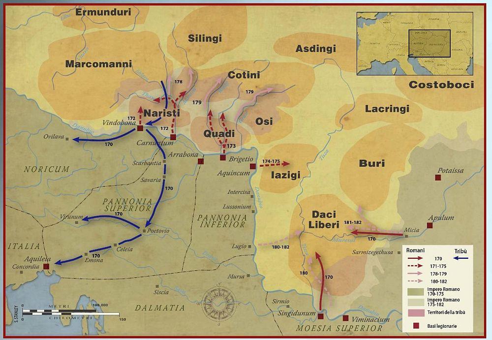 Obszar głównych działań wojennych w okresie wojen markomańskich