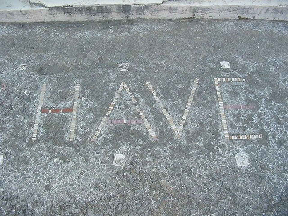 Roman mosaic with word HAVE