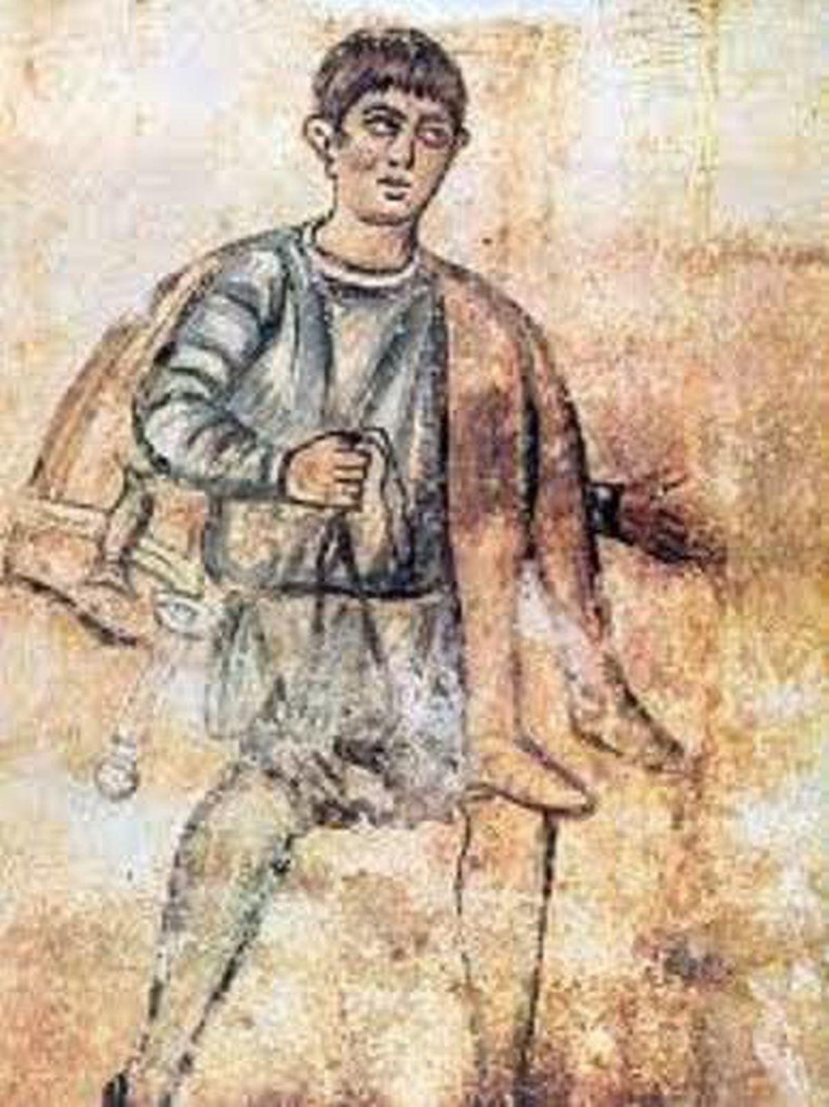 Fresk ukazujący niewolnika niosącego spodnie pana