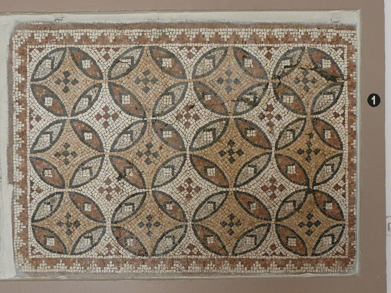 Geometric motif on the mosaic at the Hatay Archaeological Museum in Turkey