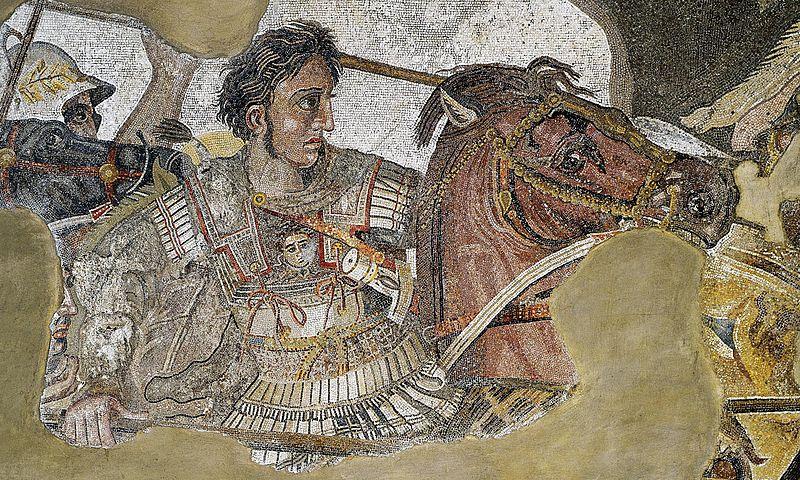 Wizerunek Aleksandra Macedońskiego w trakcie bitwy pod Issos - rzymska mozaika