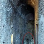 """The so-called """"Domitian ramp"""" leading from the Forum (specifically from today's Santa Maria Antiqua church) to the Palatine. At the bottom of the photo I marked a fragment of the wall, which - if I read """"The Atlas of Ancient Rome"""" correctly - belonged to one of the dining rooms of the palace of Caliguli and was reused during Domitian reconstruction."""