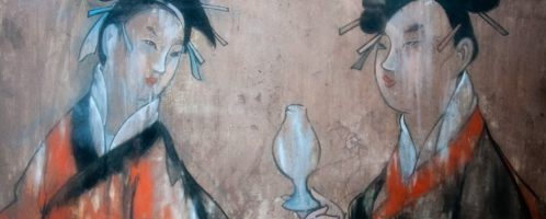 A wall painting of two women in silk robes. The painting is from the  Dahuting Tomb in the Late Eastern Han Dynasty (CE 25-220) in Zhengzhou,  China.