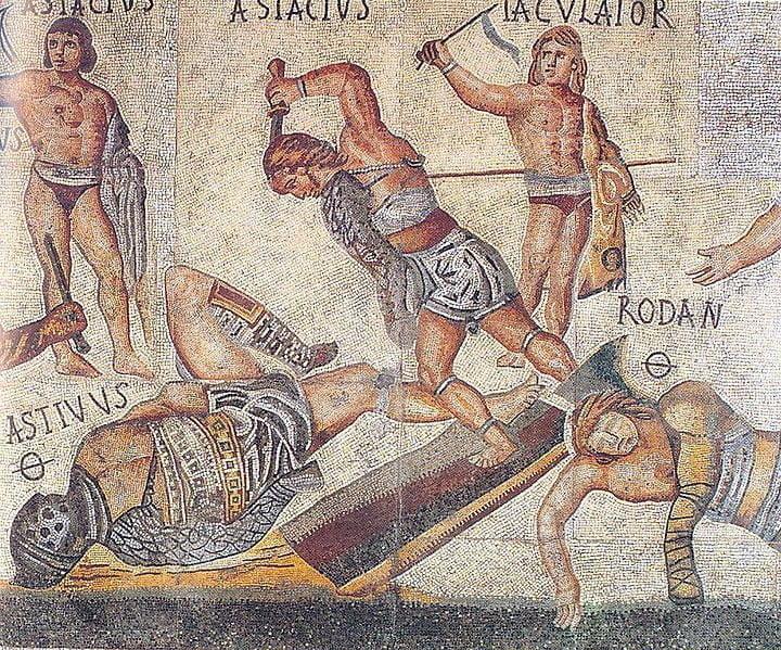 Detal z rzymskiej mozaiki ukazującej walki gladiatorów - znajdująca się w Galerii Borghese w Rzymie