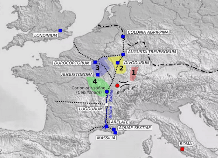 Map showing the main transport routes in ancient France