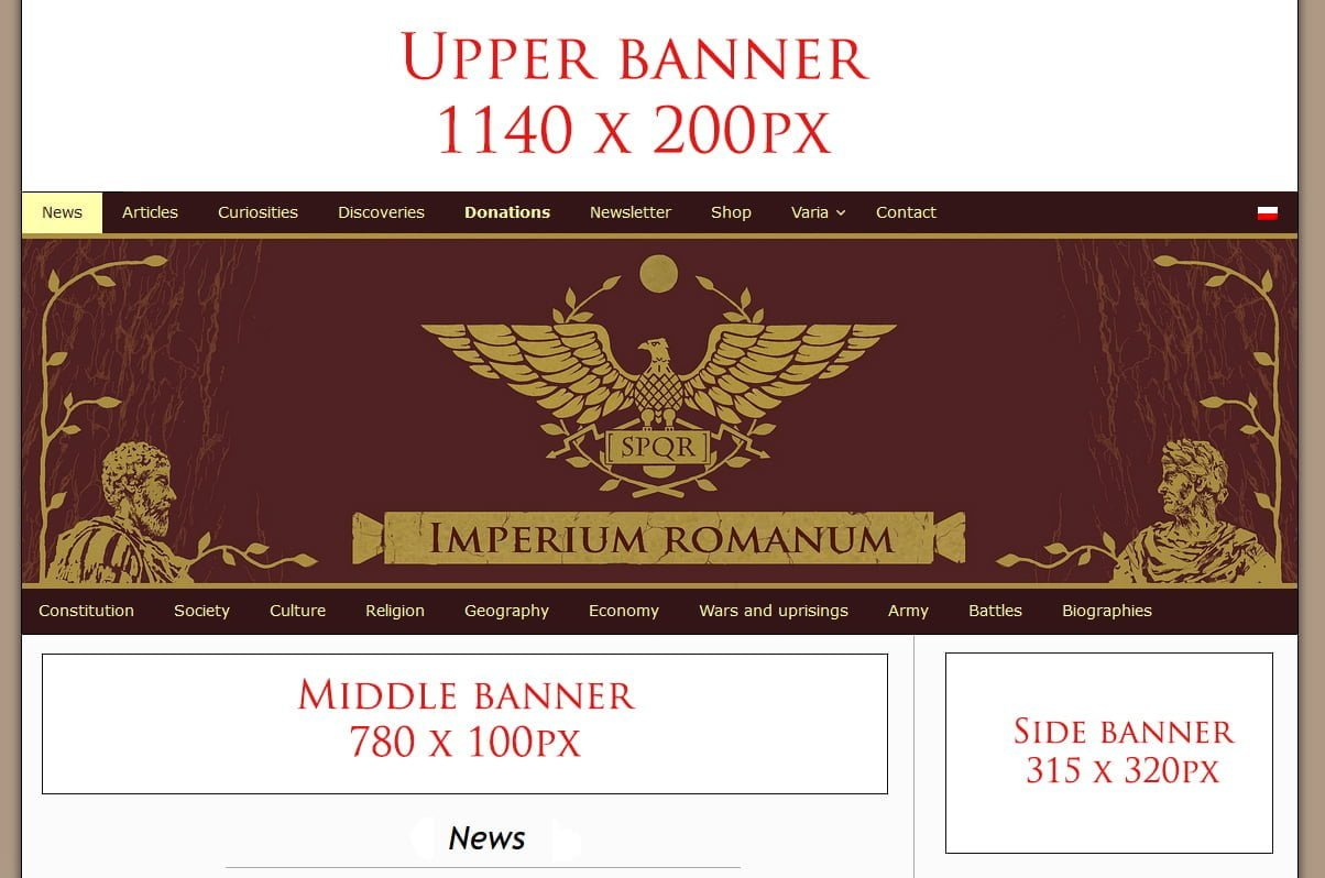 Banner advertisement on IMPERIUM ROMANUM
