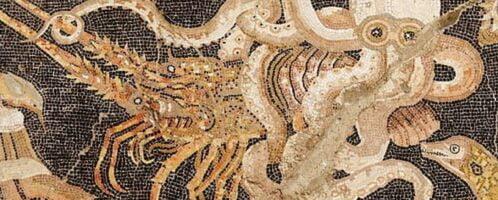 Mozaika rzymska ukazująca walkę ośmiornicy i raka