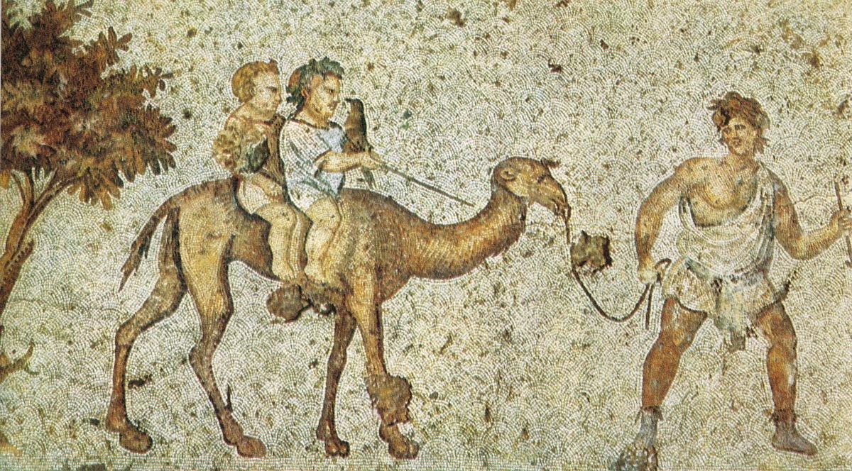Mozaika ukazująca dzieci na wielbłądzie