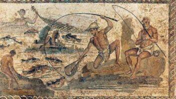 Mozaika ukazująca rybaków przy pracy