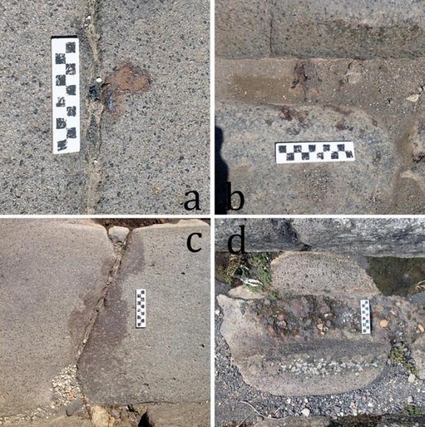 Zdjęcie A pokazuje kroplę żelaza; B rozprysk; C i D plamę