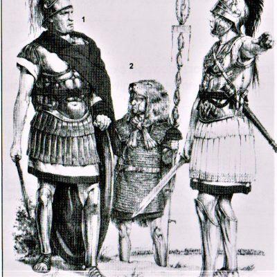 Oficerowie rzymscy. 1-trybun, 2-chorąży, 3-legat