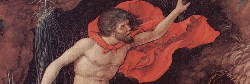 Volcano in the painting of the painter Andrea Mantegna