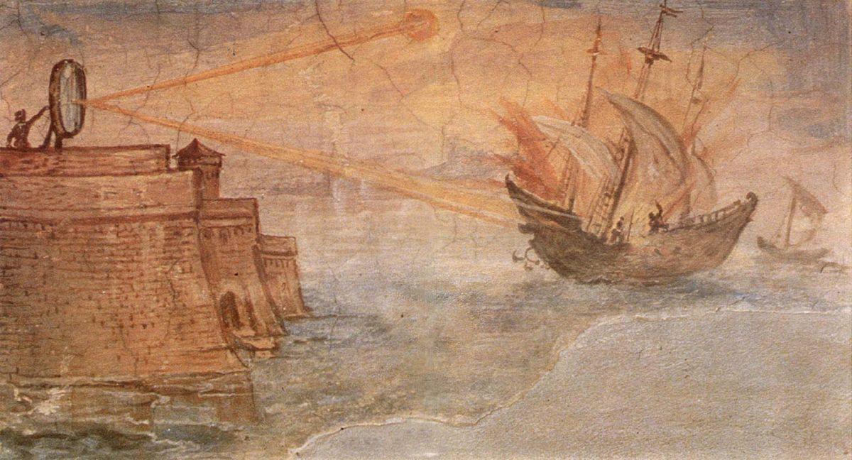 Obraz ukazując wizję działania luster Archimedesa w walce z Rzymianami. Obraz Giulio Parigi.
