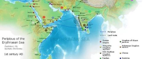 Mapa na bazie Periplusa Morza Erytrejskiego