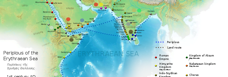 Map based on the Periplus of the Eritrean Sea