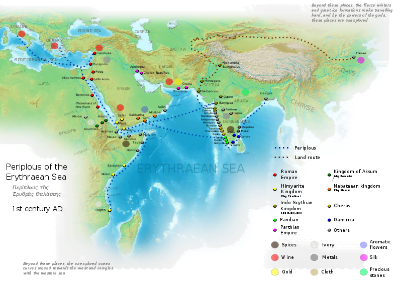 Map basing on Periplus of the Erythraean Sea