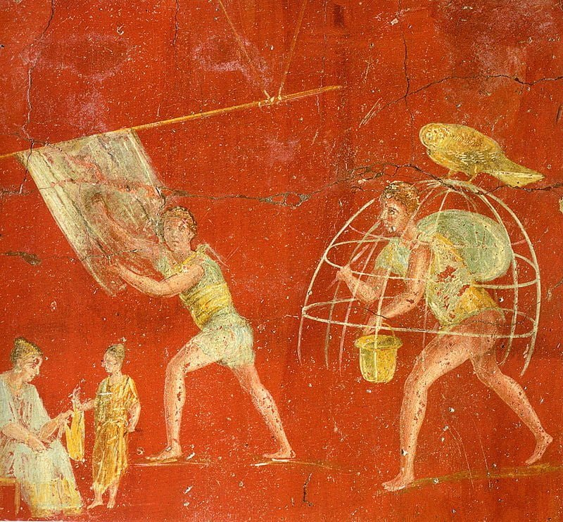 Fresco from one of fullonica in Pompeii. Currently, the building is in the National Archaeological Museum in Naples.