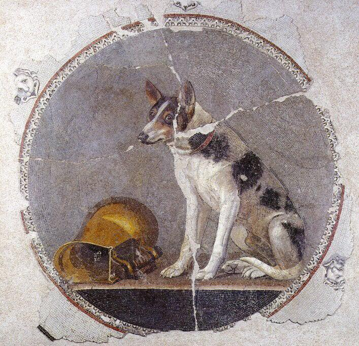 Wonderful mosaic showing dog with golden vessel
