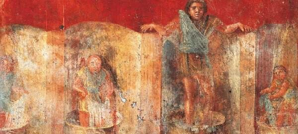 Fresco showing fullers at work. The painting was in Pompeii, in the  workshop of Veranius Hypsaeus.
