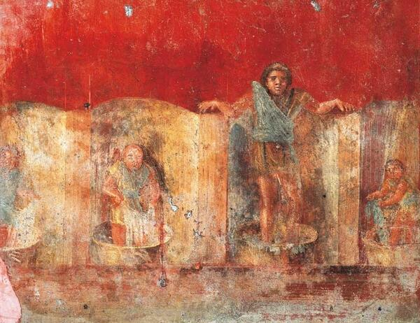 A fresco showing fullers at work. The painting was in Pompeii, in the manufacture of Veranius Hypsaeus.