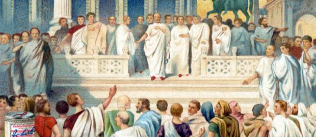 A drawing showing the election of officials in ancient Rome