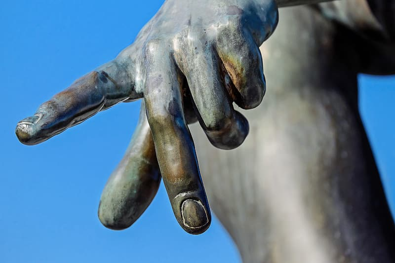 Sculpture with a finger