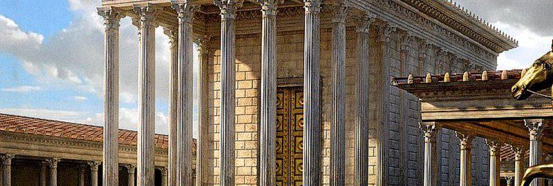 Wizualizacja świątyni Wenus Rodzicielki na Forum Cezara w Rzymie