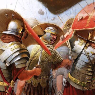 Roman legionaries under fire