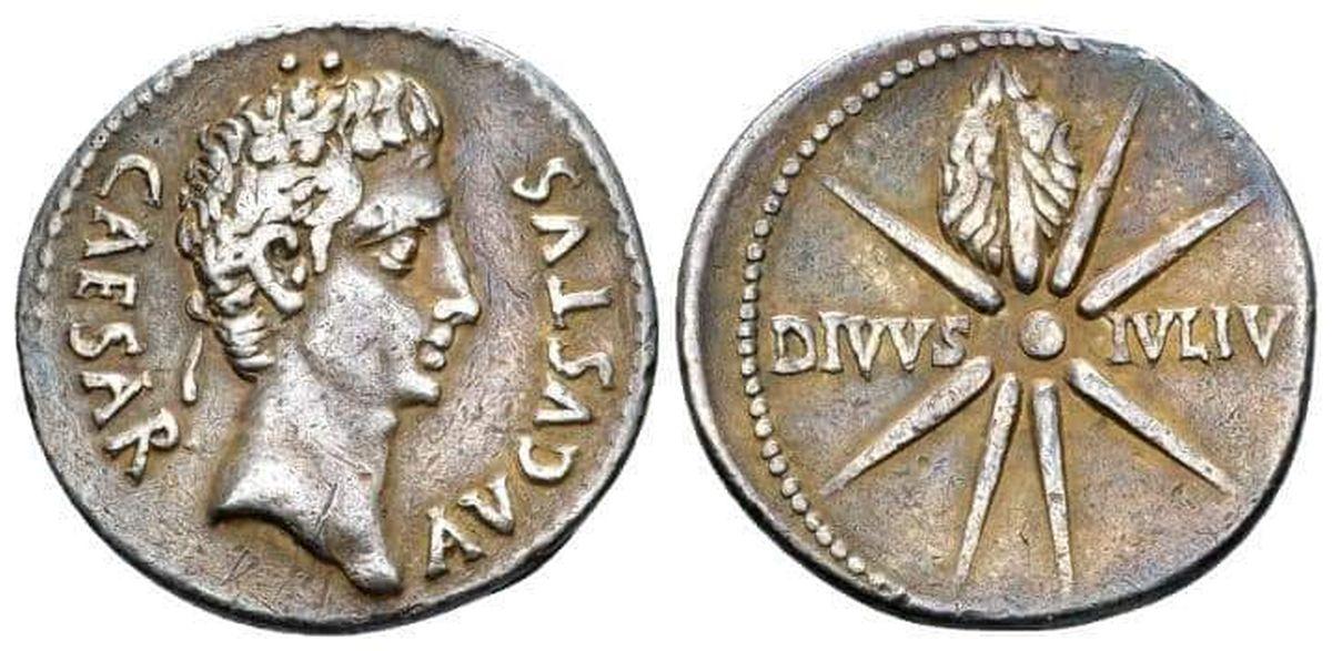 """Denar showing Octavian and """"Caesar's comet"""""""
