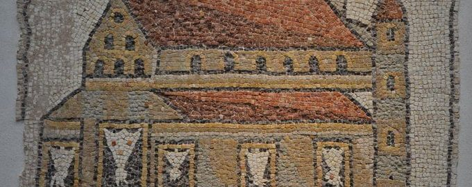 Rzymska mozaika ukazująca kościół