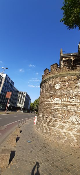 A preserved Roman tower in Cologne with visible decorations