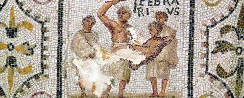 Ukazany miesiąc luty na rzymskiej mozaice z I połowy III wieku n.e. Obiekt znajduje się w Muzeum Archeologiczne w Susie (Tunezja).