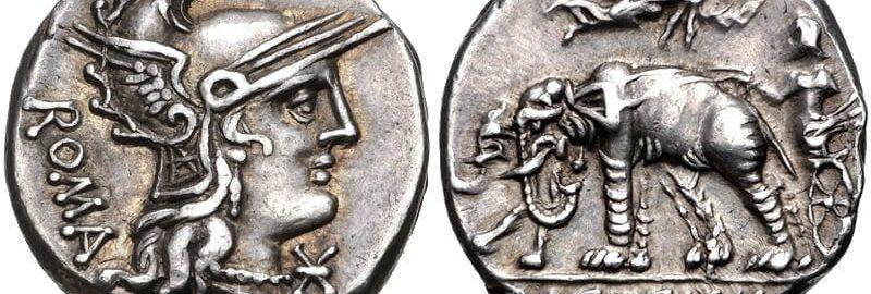 Denarius of Cecilius Metellus Caprarius. The reverse shows the triumph of  his ancestor Lucius Cecilius Metellus and the elephants captured at Panormus.