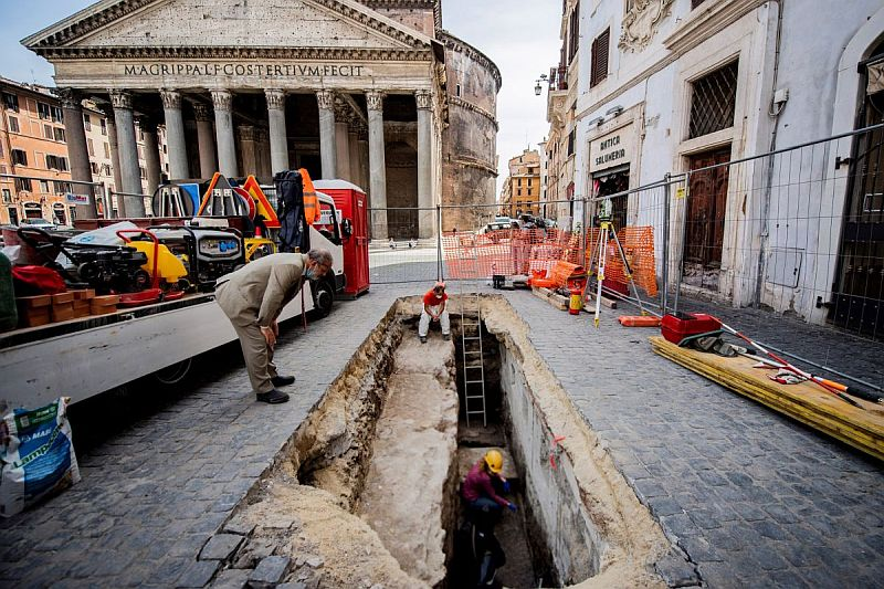 Ancient paving stones were discovered next to Pantheon
