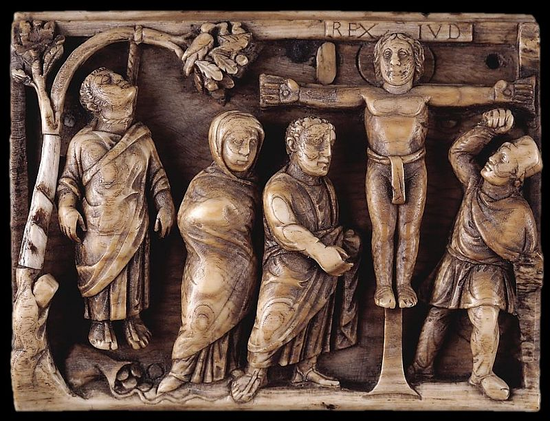 Panel showing death of Judas and crucifixion of Christ