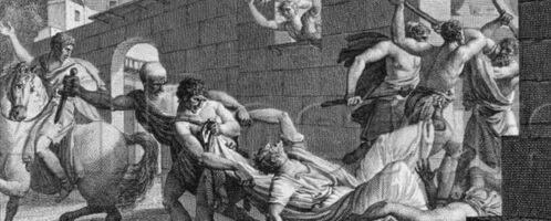 Rycina ukazująca walki w Rzymie
