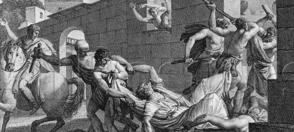 A print showing the fights in Rome