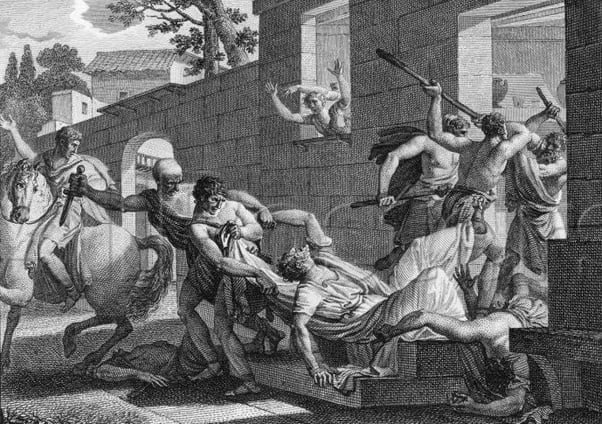 A drawing showing the death of Clodius
