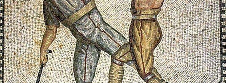 Roman mosaic showing the fight of gladiators
